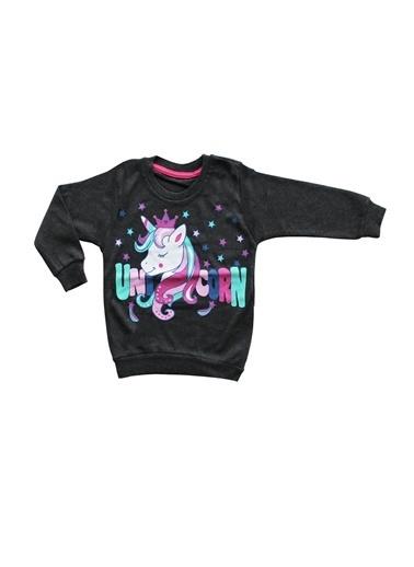 By Bebek Odam By Bebek Odam Bisiklet Yaka Uzun Kol Unicorn Baskılı  Kız Bebek Sweatshirt Siyah